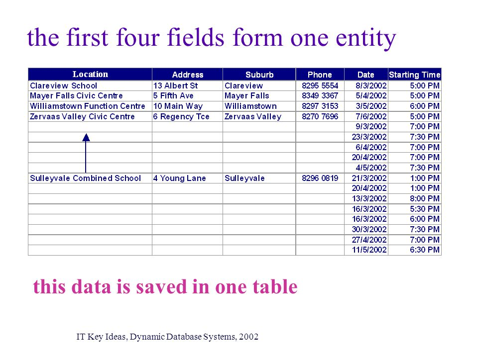 the first four fields form one entity this data is saved in one table IT Key Ideas, Dynamic Database Systems, 2002