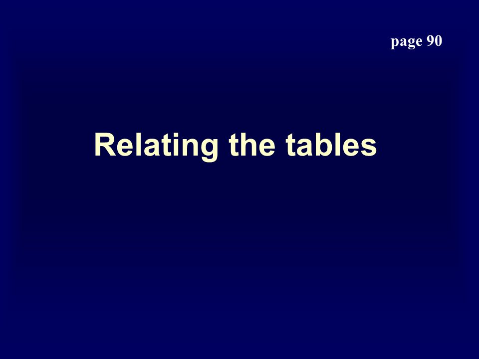 Relating the tables page 90