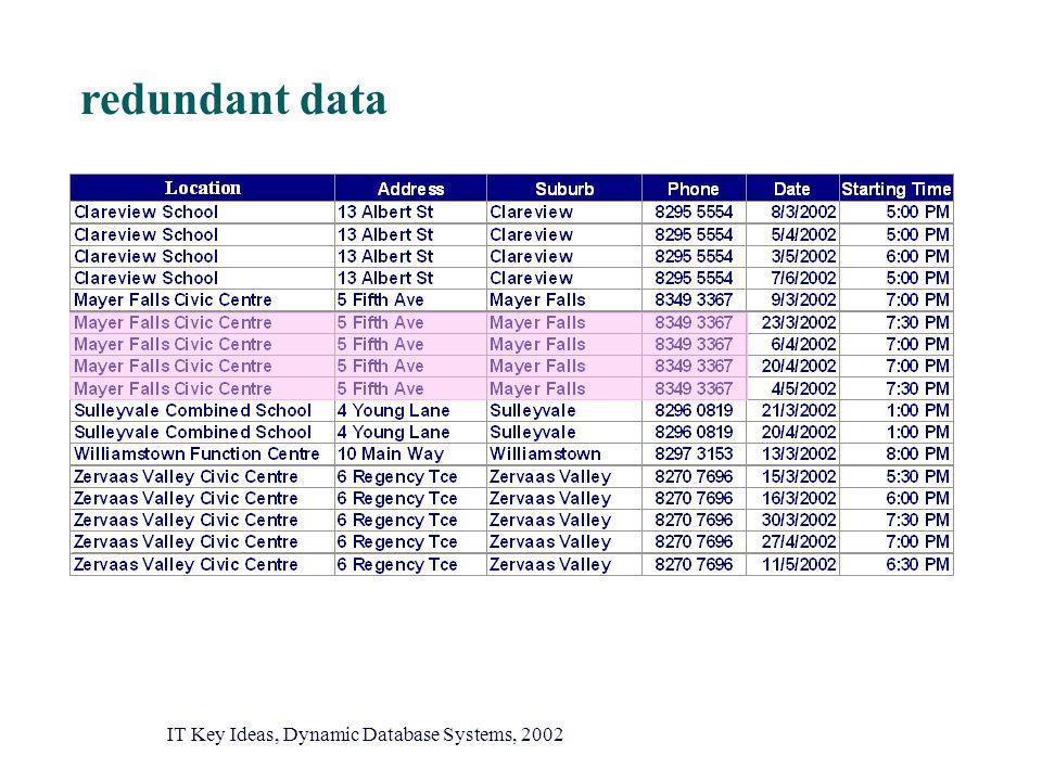 redundant data IT Key Ideas, Dynamic Database Systems, 2002