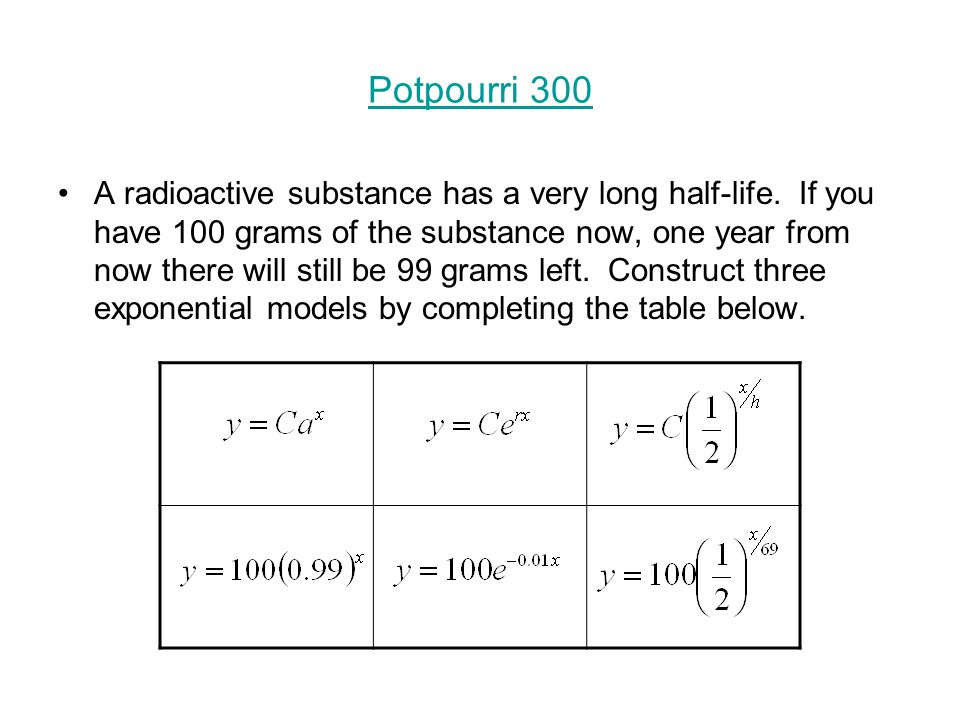 Potpourri 300 A radioactive substance has a very long half-life.