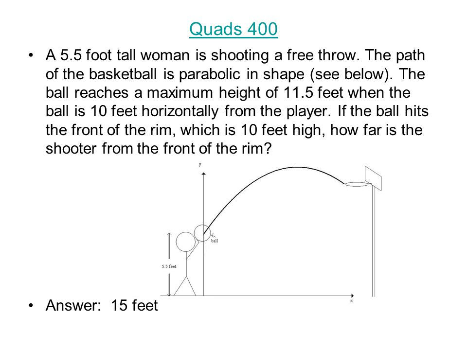 Quads 400 A 5.5 foot tall woman is shooting a free throw.