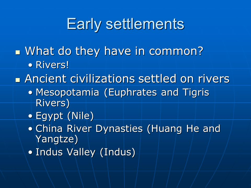 Early settlements What do they have in common. Rivers.