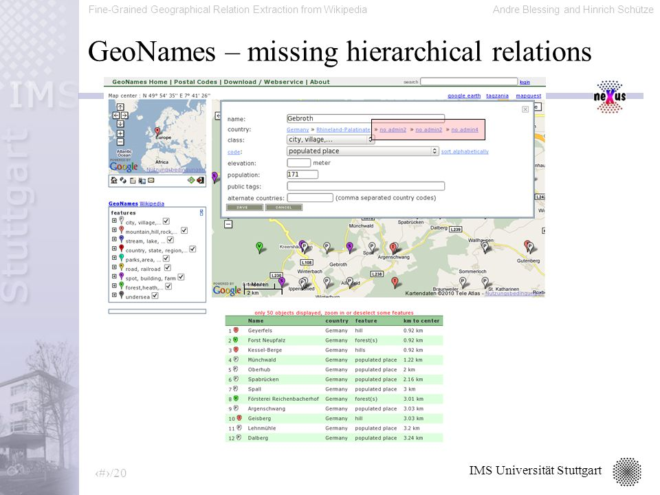 Fine-Grained Geographical Relation Extraction from WikipediaAndre Blessing and Hinrich Schütze 6/20 IMS Universität Stuttgart GeoNames – missing hierarchical relations