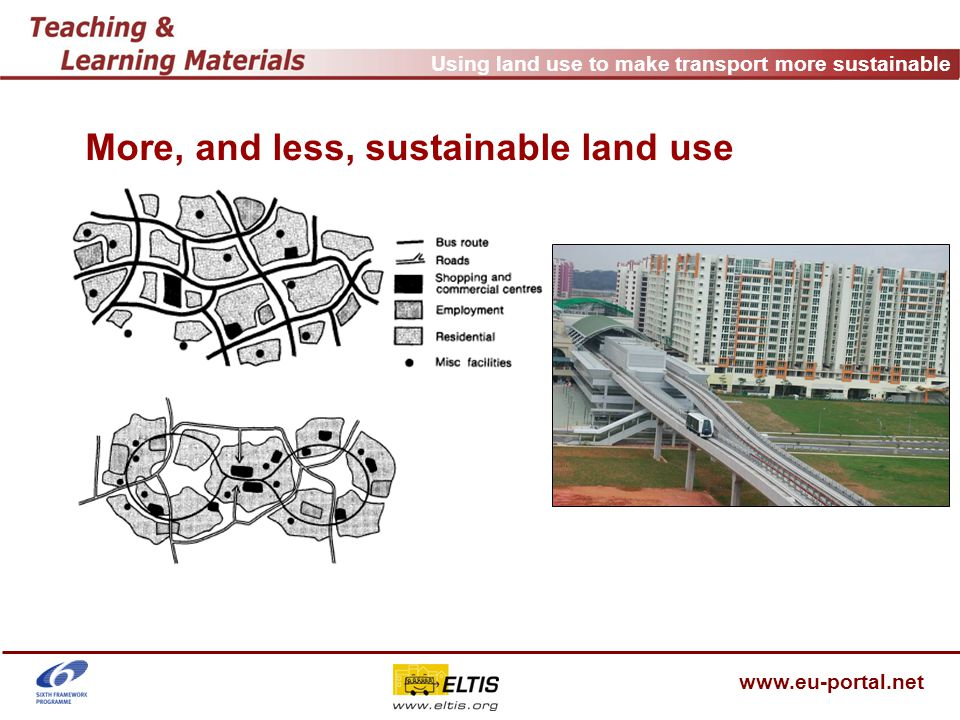 """Using land use to make transport more sustainable www.eu-portal.net Sihlcity, Zurich - requirements to obtain planning permission, 2002 public transport: financial contribution on study of improving PT and on re-building of PT stops bike: 600 bike parking lots pedestrians: to assure """"recreation quality """" (Aufenthaltsqualität) in the area motorised transport: costs for construction of access ramp to main road, less than 805 PP and 50 P+R Mobility Management (not directly but): Parking concept (and trip quota model) implementation of a home delivery service defined in the area specific land use plan of Sihlcity and agreement between investor/ground owner and environmental association (on the base of existing right to complain of NGO's)"""