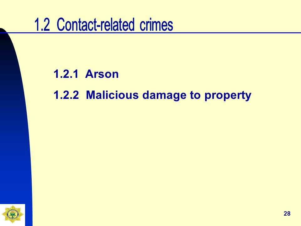 28 1.2.1 Arson 1.2.2 Malicious damage to property