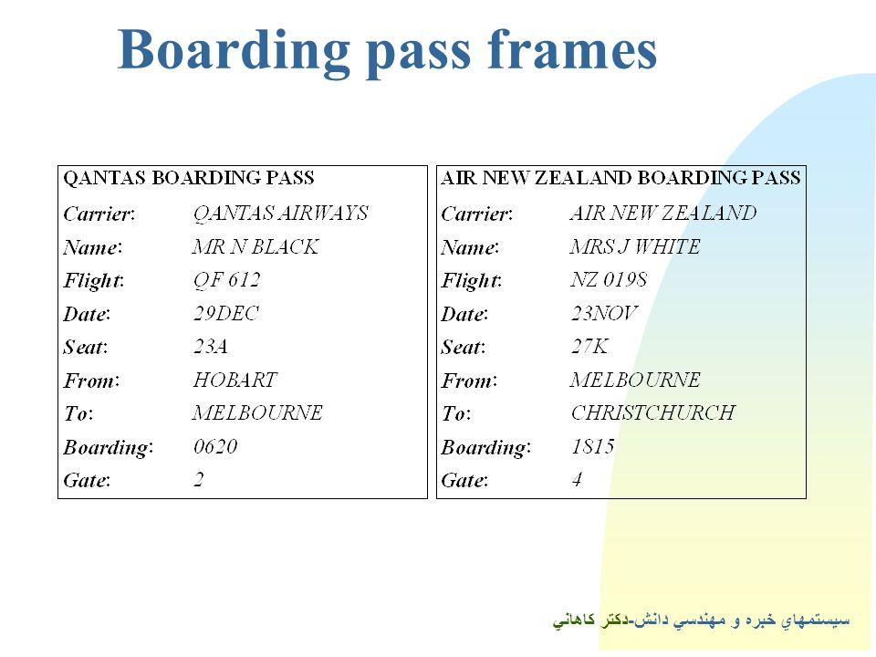 سيستمهاي خبره و مهندسي دانش-دكتر كاهاني Boarding pass frames