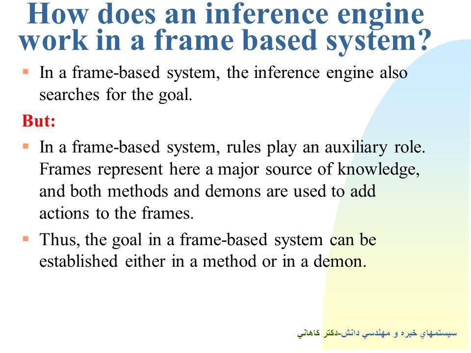 سيستمهاي خبره و مهندسي دانش-دكتر كاهاني How does an inference engine work in a frame based system.