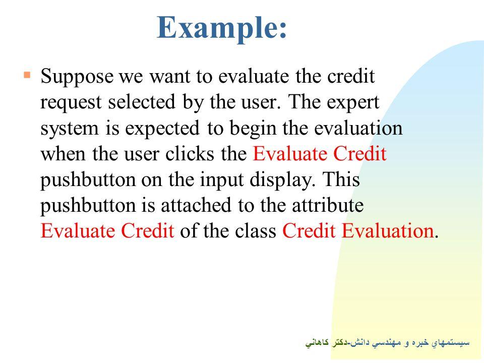 سيستمهاي خبره و مهندسي دانش-دكتر كاهاني 3Example:  Suppose we want to evaluate the credit request selected by the user.