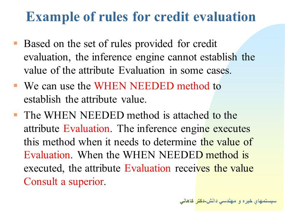 سيستمهاي خبره و مهندسي دانش-دكتر كاهاني 3Example of rules for credit evaluation  Based on the set of rules provided for credit evaluation, the inference engine cannot establish the value of the attribute Evaluation in some cases.