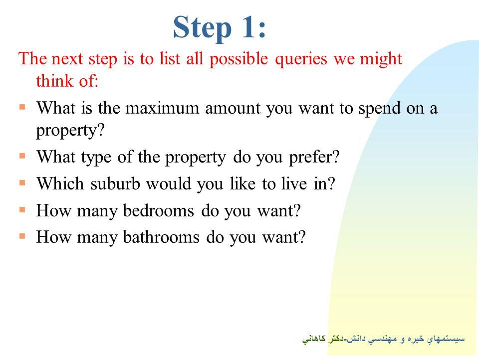 سيستمهاي خبره و مهندسي دانش-دكتر كاهاني 4Step 1: The next step is to list all possible queries we might think of:  What is the maximum amount you want to spend on a property.
