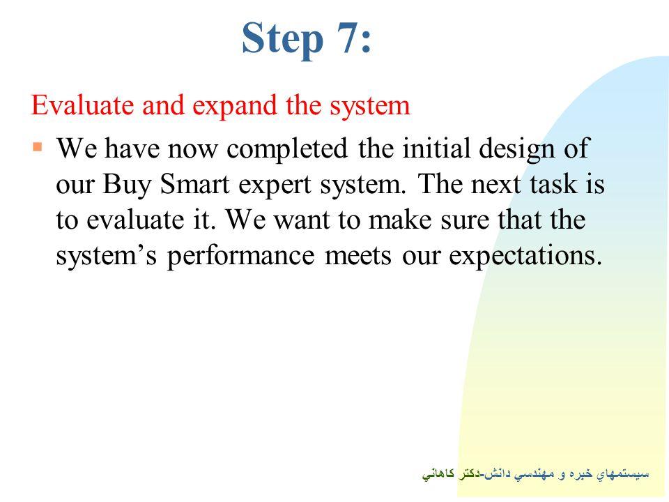 سيستمهاي خبره و مهندسي دانش-دكتر كاهاني 6Step 7: Evaluate and expand the system  We have now completed the initial design of our Buy Smart expert system.