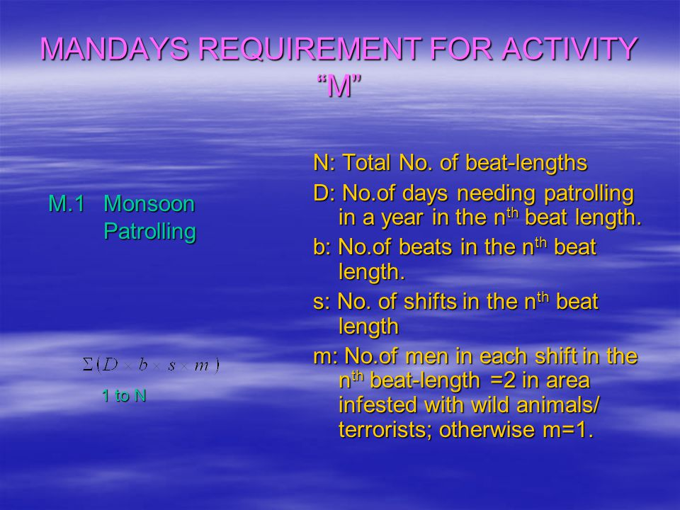 """MANDAYS REQUIREMENT FOR ACTIVITY """"M"""" M.1 Monsoon Patrolling M.1 Monsoon Patrolling N: Total No. of beat-lengths D: No.of days needing patrolling in a"""