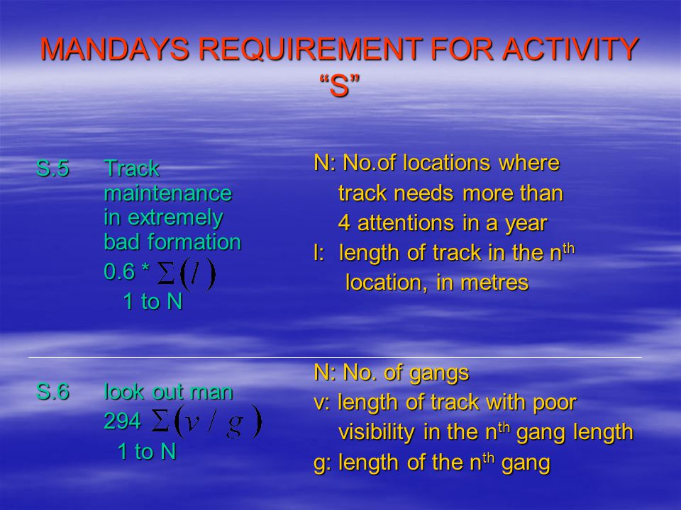 """MANDAYS REQUIREMENT FOR ACTIVITY """"S"""" S.5 Track maintenance in extremely bad formation 0.6 * 1 to N 1 to N S.6look out man 294 1 to N 1 to N N: No.of l"""