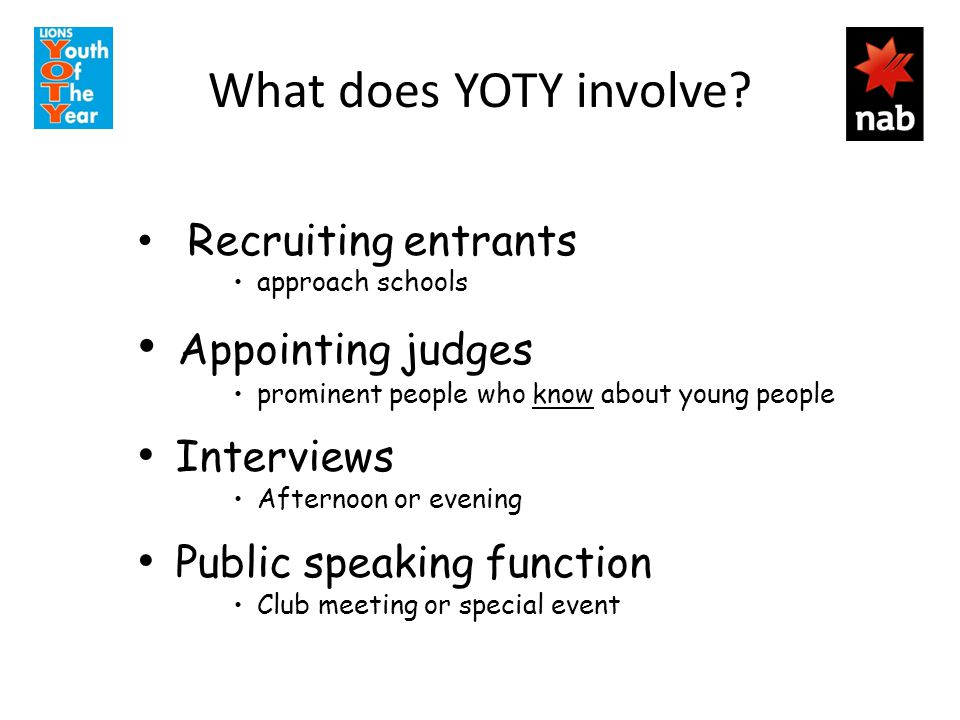 What does YOTY involve.