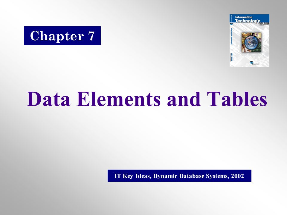 Data Elements and Tables IT Key Ideas, Dynamic Database Systems, 2002 Chapter 7