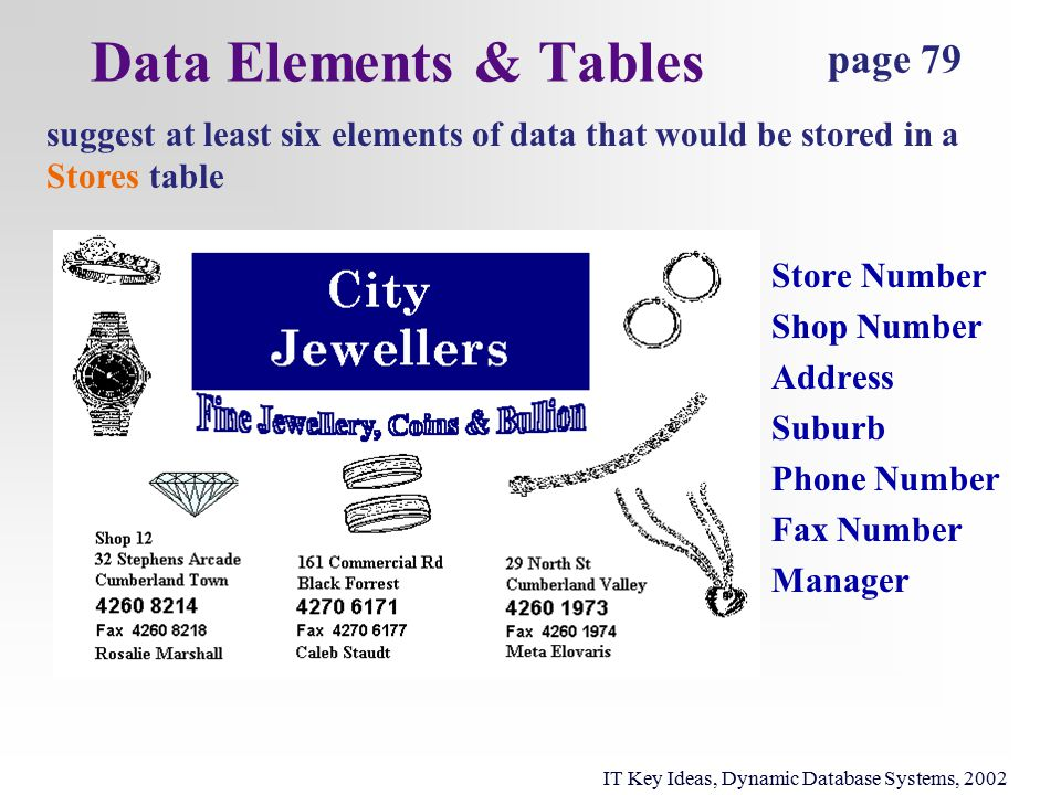 Data Elements & Tables page 79 suggest at least six elements of data that would be stored in a Stores table IT Key Ideas, Dynamic Database Systems, 2002 Store Number Shop Number Address Suburb Phone Number Fax Number Manager