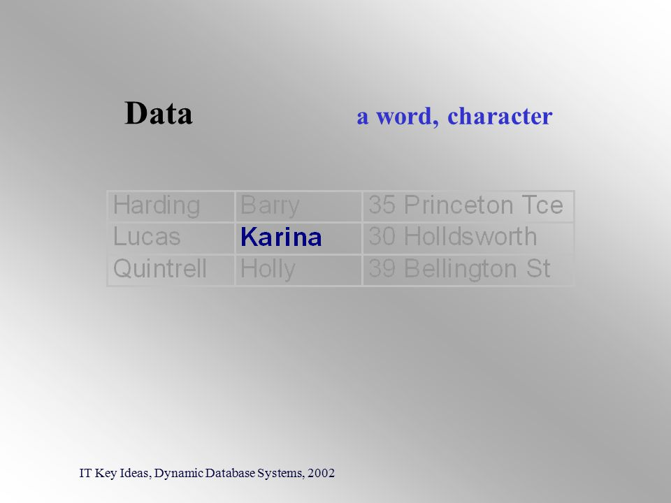Data IT Key Ideas, Dynamic Database Systems, 2002 a word, character