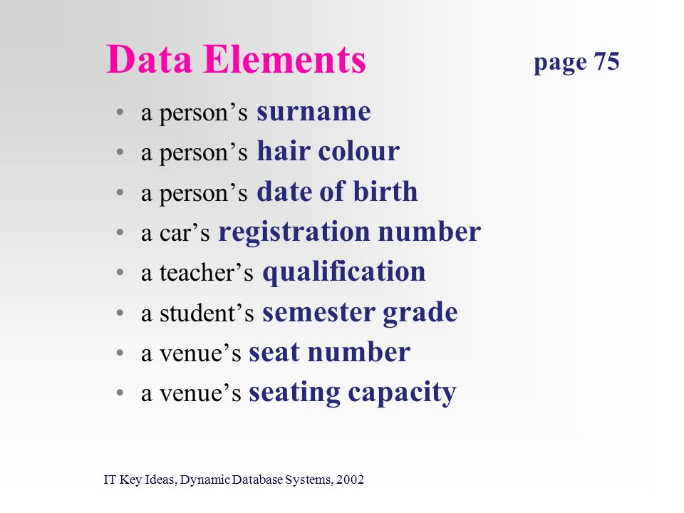 Data Elements IT Key Ideas, Dynamic Database Systems, 2002 a person's surname a person's hair colour a person's date of birth a car's registration number a teacher's qualification a student's semester grade a venue's seat number a venue's seating capacity page 75
