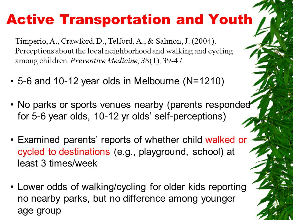 Active Transportation and Youth Timperio, A., Crawford, D., Telford, A., & Salmon, J.