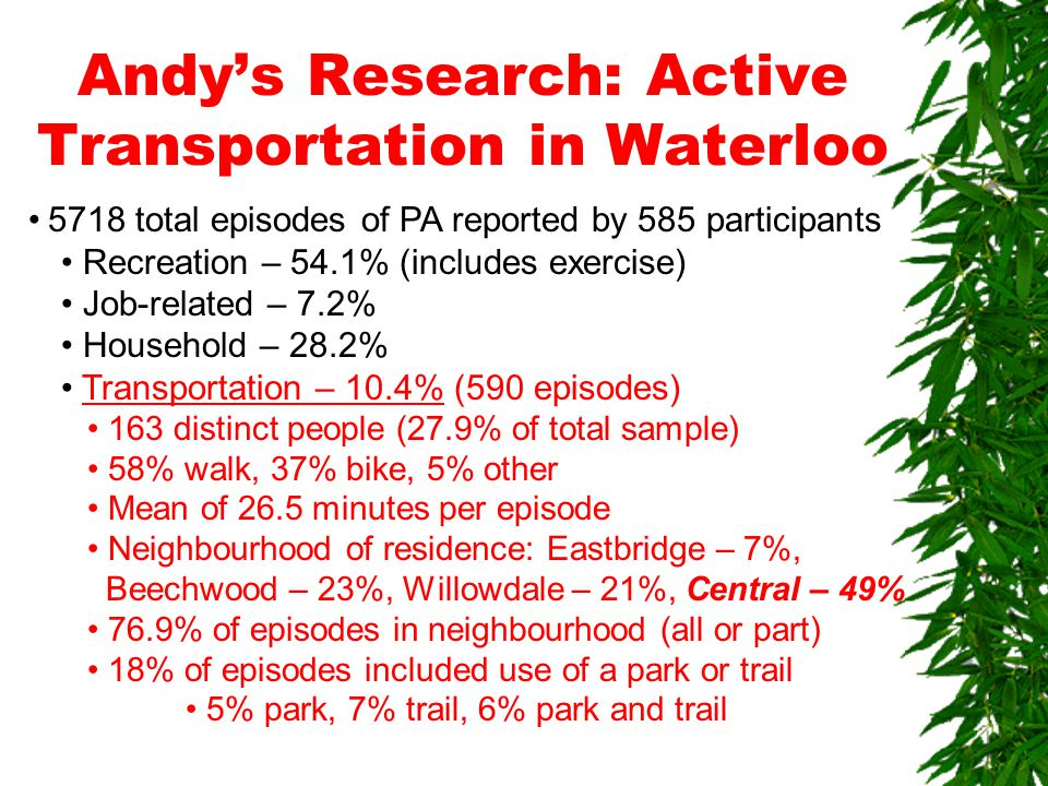 Andy's Research: Active Transportation in Waterloo 5718 total episodes of PA reported by 585 participants Recreation – 54.1% (includes exercise) Job-related – 7.2% Household – 28.2% Transportation – 10.4% (590 episodes) 163 distinct people (27.9% of total sample) 58% walk, 37% bike, 5% other Mean of 26.5 minutes per episode Neighbourhood of residence: Eastbridge – 7%, Beechwood – 23%, Willowdale – 21%, Central – 49% 76.9% of episodes in neighbourhood (all or part) 18% of episodes included use of a park or trail 5% park, 7% trail, 6% park and trail