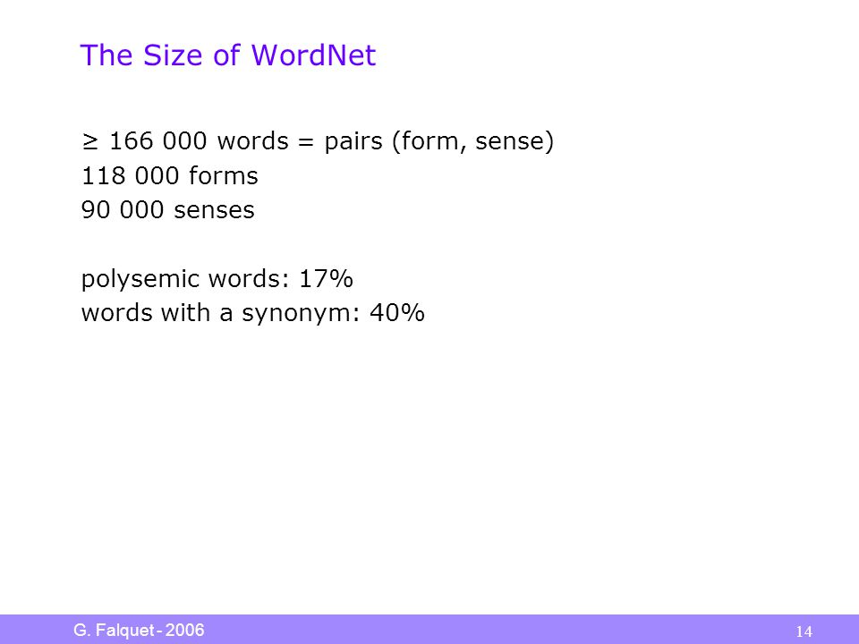 G. Falquet - 2006 14 The Size of WordNet ≥ 166 000 words = pairs (form, sense) 118 000 forms 90 000 senses polysemic words: 17% words with a synonym: