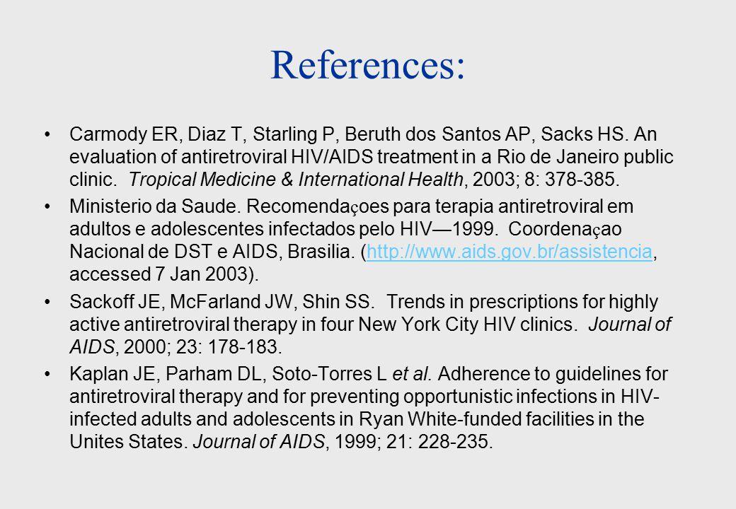 References: Carmody ER, Diaz T, Starling P, Beruth dos Santos AP, Sacks HS.