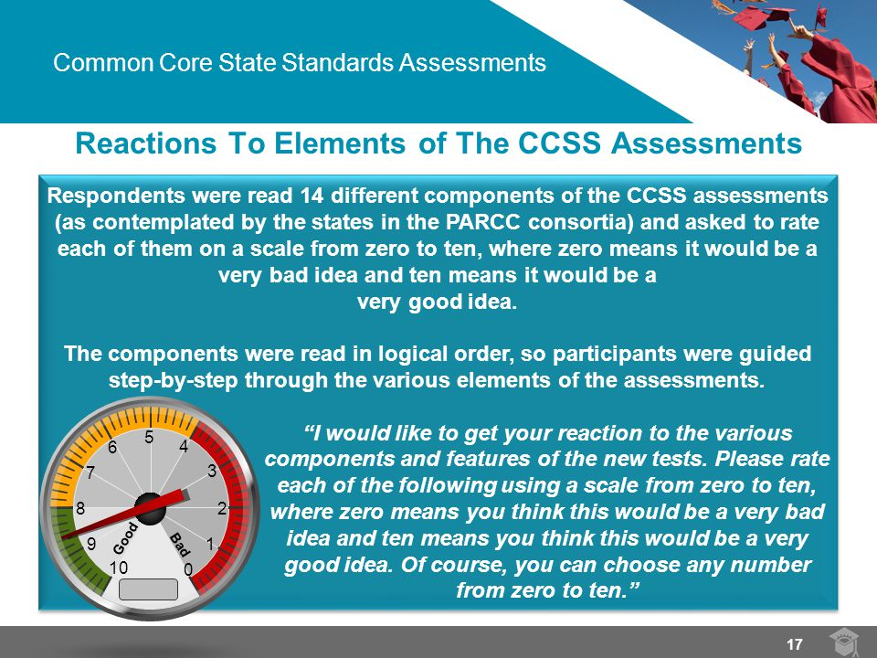 Respondents were read 14 different components of the CCSS assessments (as contemplated by the states in the PARCC consortia) and asked to rate each of them on a scale from zero to ten, where zero means it would be a very bad idea and ten means it would be a very good idea.