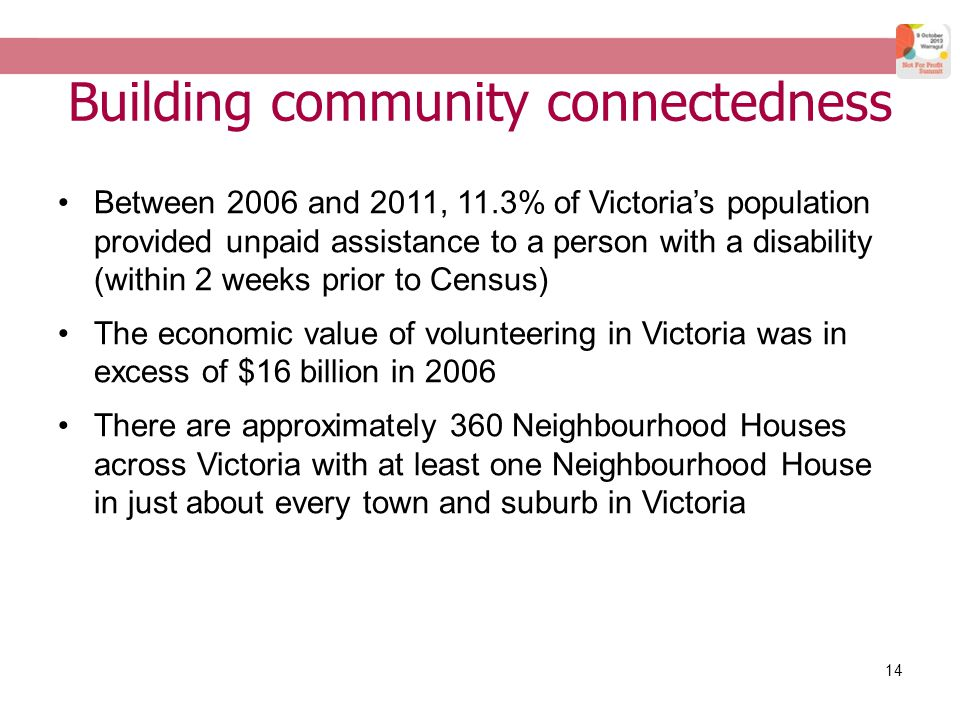14 Building community connectedness Between 2006 and 2011, 11.3% of Victoria's population provided unpaid assistance to a person with a disability (within 2 weeks prior to Census) The economic value of volunteering in Victoria was in excess of $16 billion in 2006 There are approximately 360 Neighbourhood Houses across Victoria with at least one Neighbourhood House in just about every town and suburb in Victoria