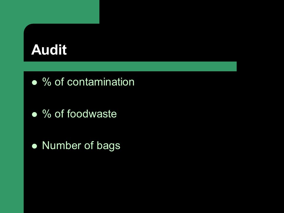 Audit % of contamination % of foodwaste Number of bags