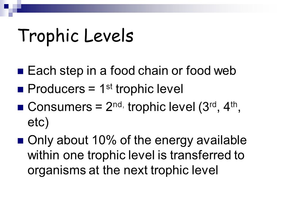 Trophic Levels Each step in a food chain or food web Producers = 1 st trophic level Consumers = 2 nd, trophic level (3 rd, 4 th, etc) Only about 10% of the energy available within one trophic level is transferred to organisms at the next trophic level