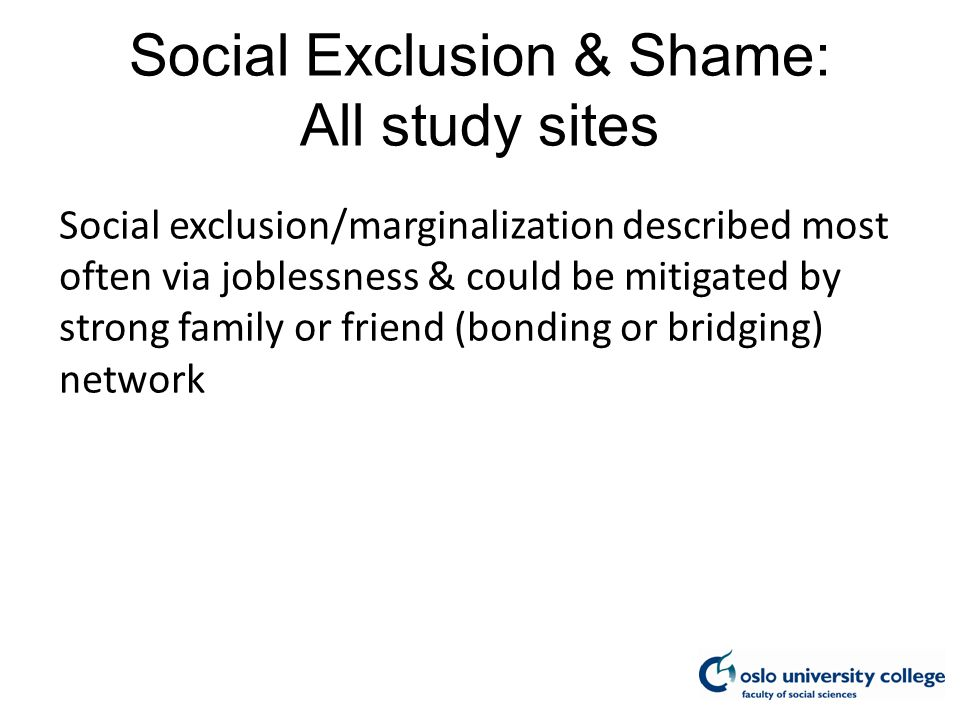 Social Exclusion & Shame: All study sites Social exclusion/marginalization described most often via joblessness & could be mitigated by strong family or friend (bonding or bridging) network