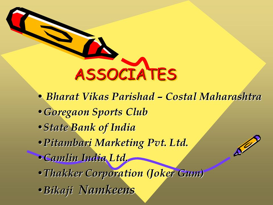 ASSOCIATESASSOCIATES Bharat Vikas Parishad – Costal Maharashtra Bharat Vikas Parishad – Costal Maharashtra Goregaon Sports Club Goregaon Sports Club State Bank of India State Bank of India Pitambari Marketing Pvt.