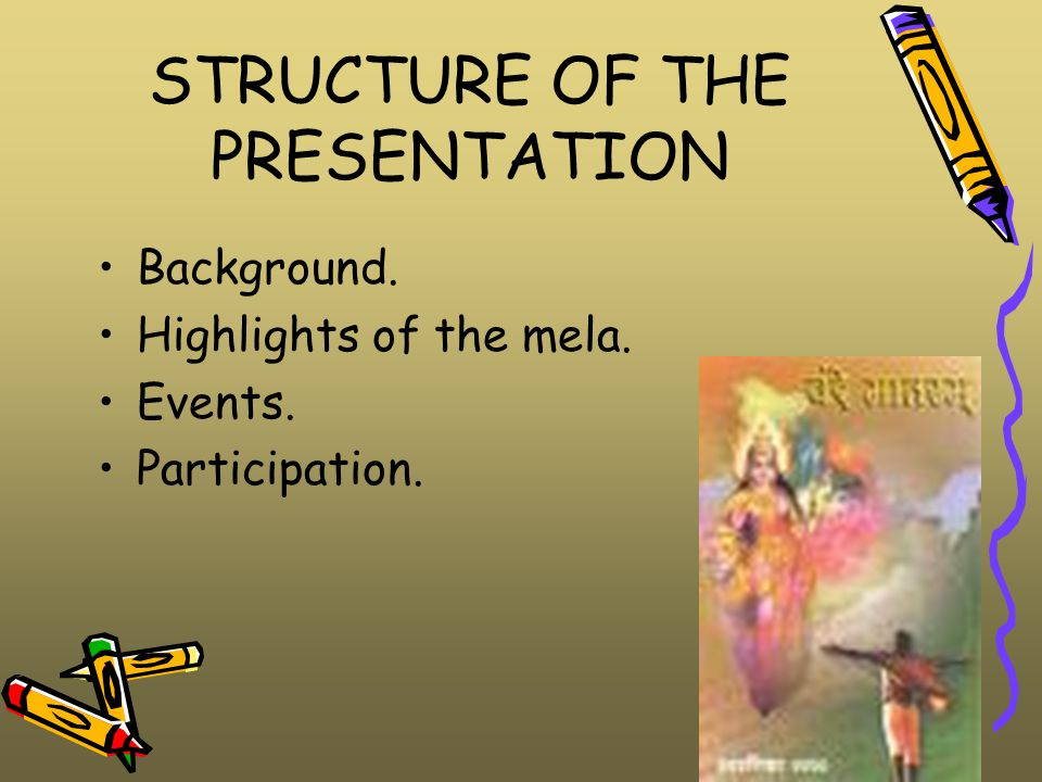 STRUCTURE OF THE PRESENTATION Background. Highlights of the mela. Events. Participation.