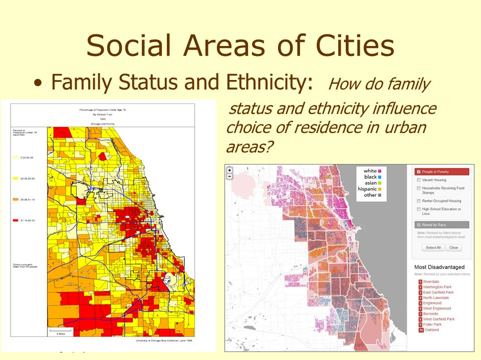 Human Geography 11e Social Areas of Cities Family Status and Ethnicity: How do family status and ethnicity influence choice of residence in urban area