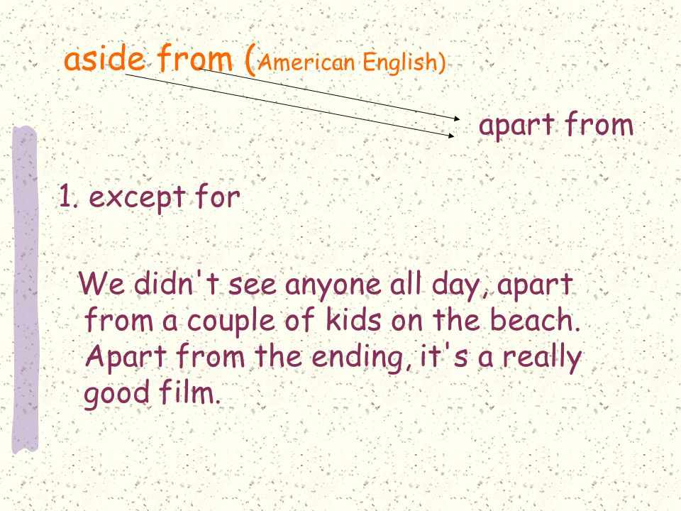 aside from ( American English) 1.