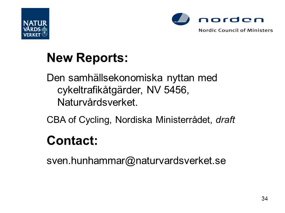 34 New Reports: Den samhällsekonomiska nyttan med cykeltrafikåtgärder, NV 5456, Naturvårdsverket.