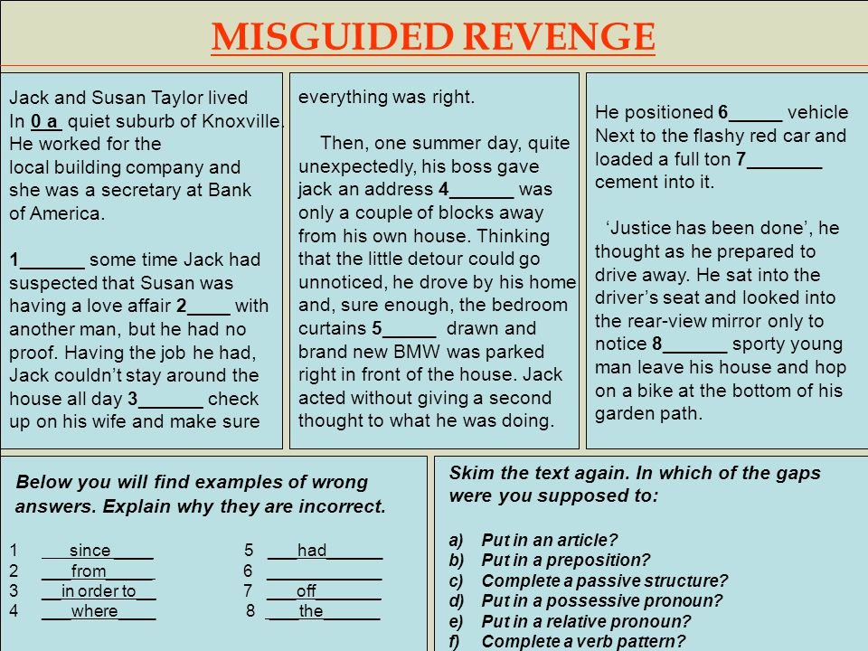 MISGUIDED REVENGE Jack and Susan Taylor lived In 0 a quiet suburb of Knoxville. He worked for the local building company and she was a secretary at Ba
