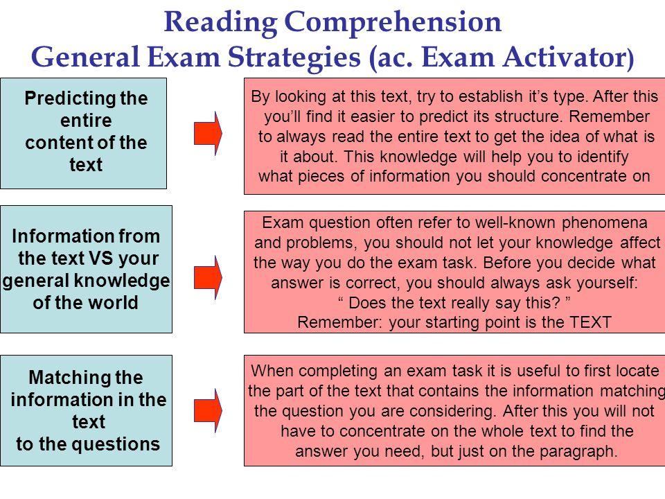 Reading Comprehension General Exam Strategies (ac.