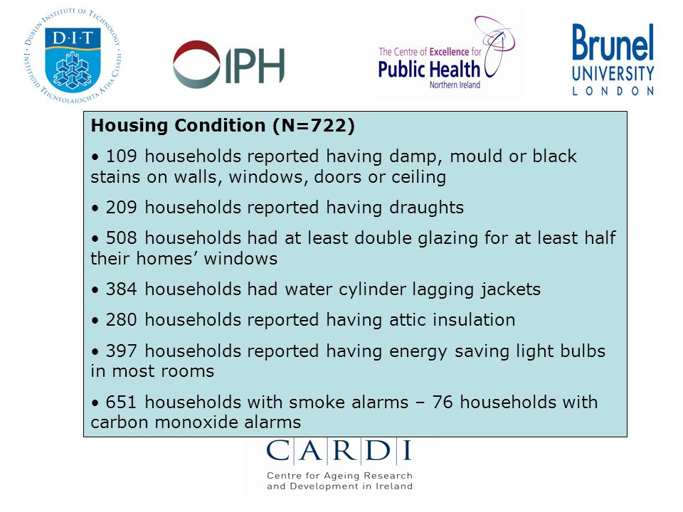 Housing Condition (N=722) 109 households reported having damp, mould or black stains on walls, windows, doors or ceiling 209 households reported having draughts 508 households had at least double glazing for at least half their homes' windows 384 households had water cylinder lagging jackets 280 households reported having attic insulation 397 households reported having energy saving light bulbs in most rooms 651 households with smoke alarms – 76 households with carbon monoxide alarms