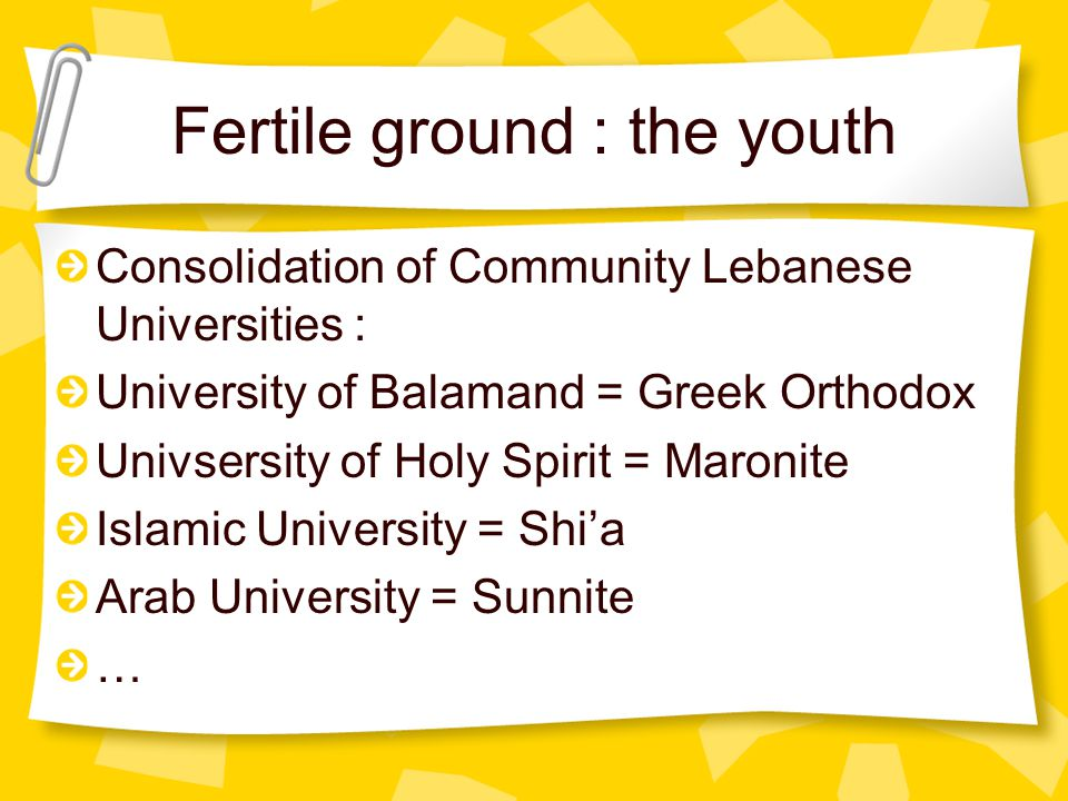 Fertile ground : the youth Consolidation of Community Lebanese Universities : University of Balamand = Greek Orthodox Univsersity of Holy Spirit = Maronite Islamic University = Shi'a Arab University = Sunnite …