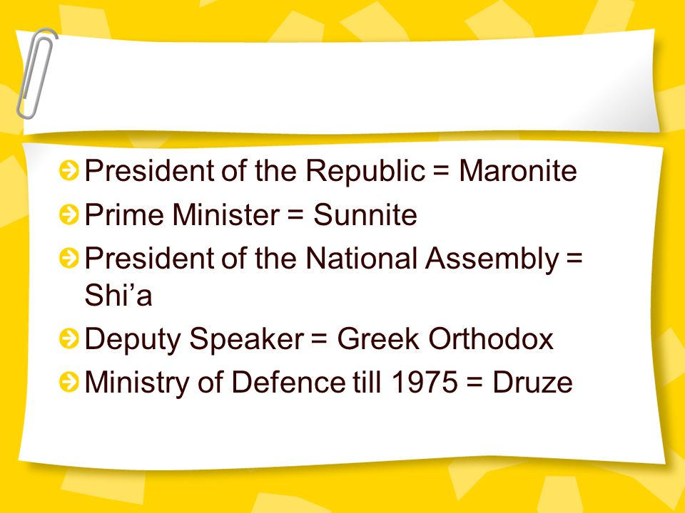 President of the Republic = Maronite Prime Minister = Sunnite President of the National Assembly = Shi'a Deputy Speaker = Greek Orthodox Ministry of Defence till 1975 = Druze