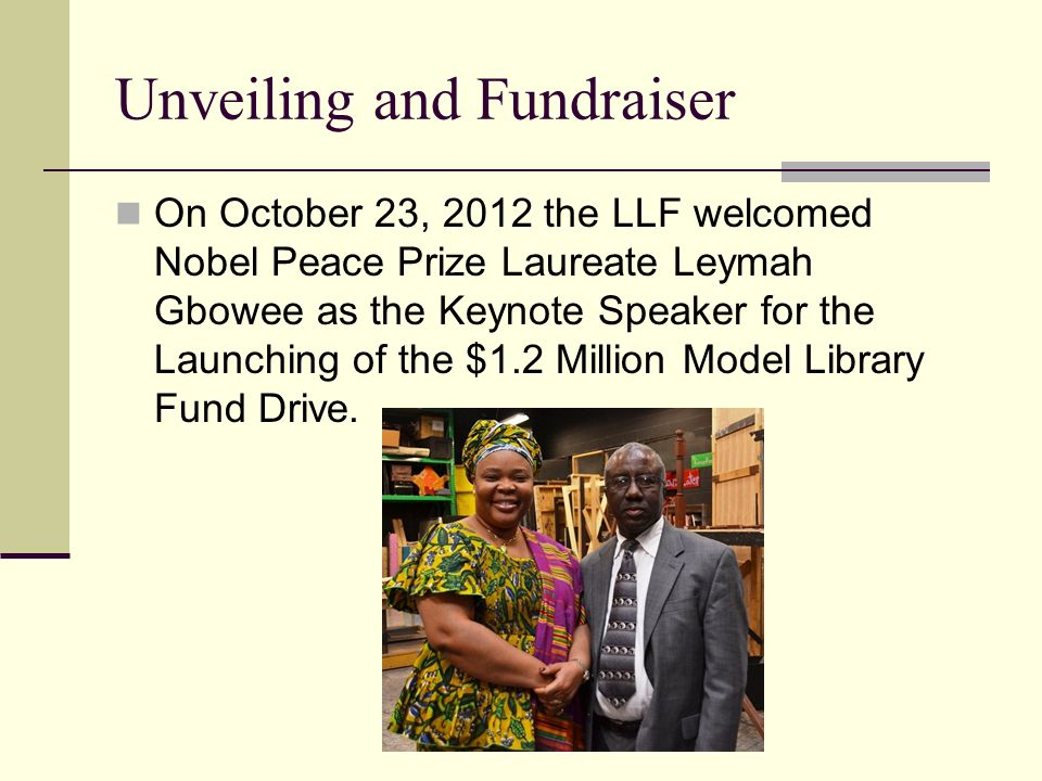 2013 - New Project Clifton and Abeoseh (Abby) Flemister have donated their home in Caldwell, a suburb of Monrovia, to be a Reading Room – to hold the book donations while money is raised for the public library.