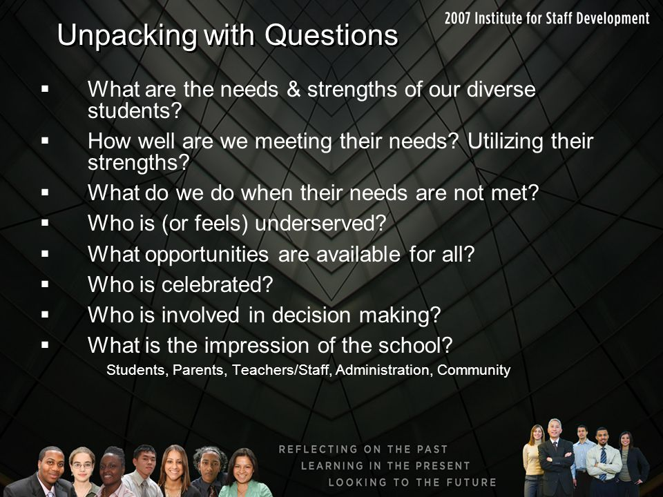 Unpacking with Questions  What are the needs & strengths of our diverse students?  How well are we meeting their needs? Utilizing their strengths? 