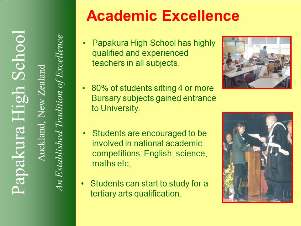 Papakura High School Auckland, New Zealand An Established Tradition of Excellence Academic Excellence Papakura High School has highly qualified and experienced teachers in all subjects.