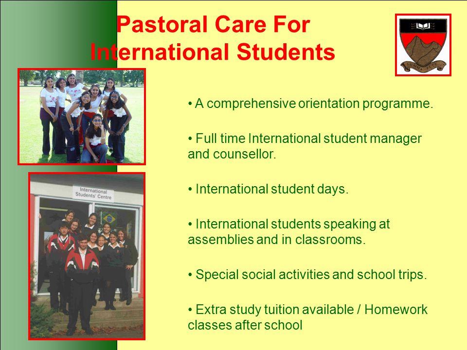 Pastoral Care For International Students A comprehensive orientation programme.