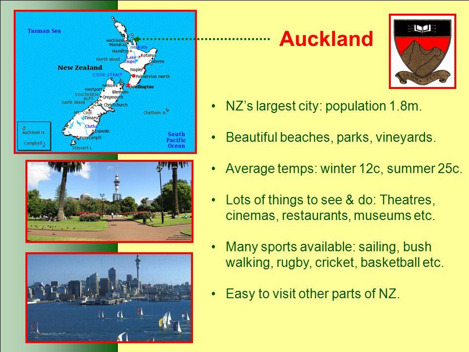 Auckland NZ's largest city: population 1.8m.Beautiful beaches, parks, vineyards.
