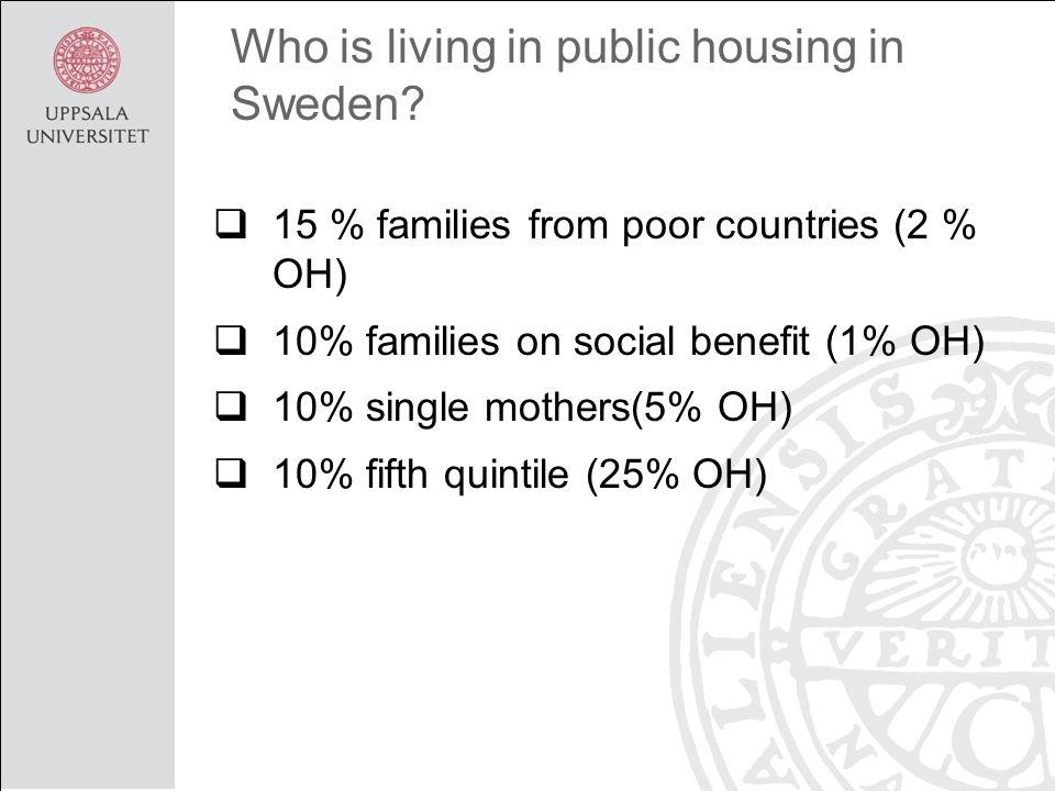Who is living in public housing in Sweden.
