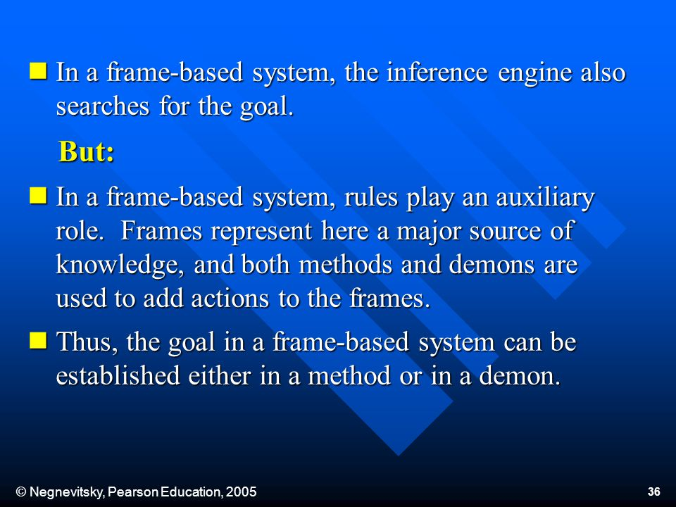 © Negnevitsky, Pearson Education, 2005 36 In a frame-based system, the inference engine also searches for the goal.