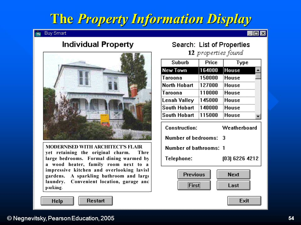 © Negnevitsky, Pearson Education, 2005 54 The Property Information Display