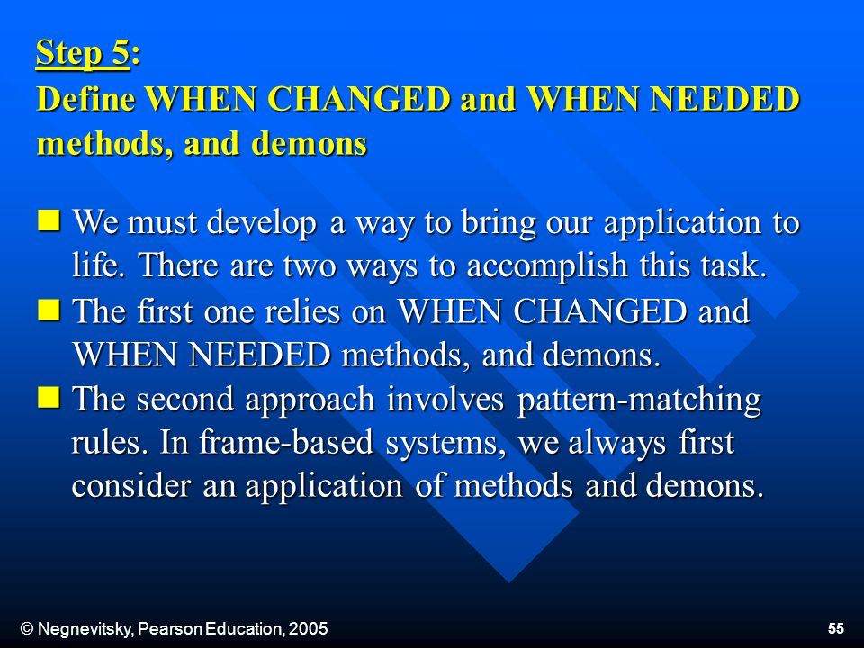 © Negnevitsky, Pearson Education, 2005 55 Step 5: Define WHEN CHANGED and WHEN NEEDED methods, and demons We must develop a way to bring our application to life.